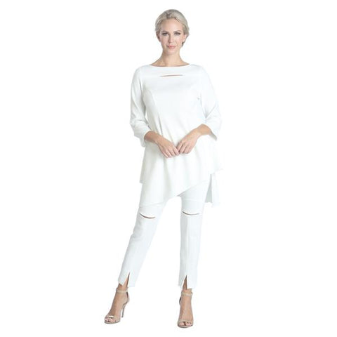 IC Collection Slit Front Ankle Pant in White - 1346P-WT