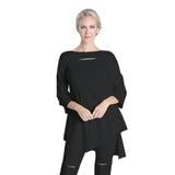 High-Low Angle Hem Fitted Tunic in Black - 1351T-BK