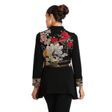 IC Collection Floral Colorblock Zip Front Jacket - 1390J - Size M