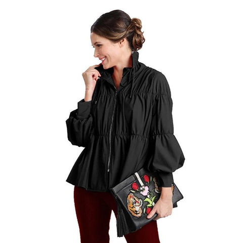IC Collection Zip Front Cinched Parachute Jacket in Black - 1395J-BLK
