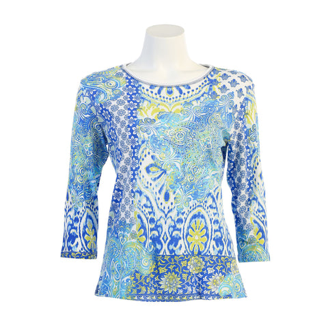"Jess & Jane ""Palace"" Floral Paisley Print Top in Blue Multi/White - 14-1000-WT"