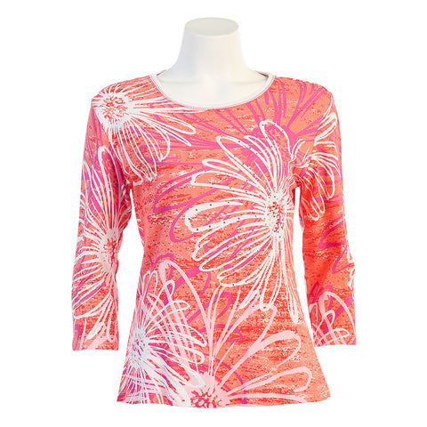 "Jess & Jane ""Water Daisy"" Top in Coral 14-1023CO"