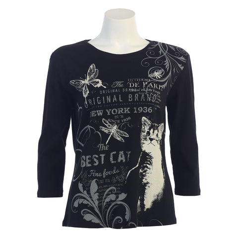 "Jess & Jane ""Cat Play"" Cotton Top in Black 14-1050BK - Sizes L, 1X & 3X Only"