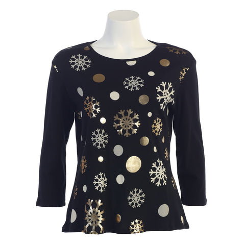 "Jess & Jane ""Snow Medley"" Top in Black - 14-1076"