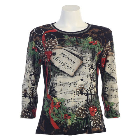 "Jess & Jane ""Season's Melody"" Holiday Top in Black/Multi - 14-1101 - Sizes S through XL Only"