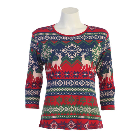 "Jess & Jane ""Wonderland"" Holiday Top in Red/Multi - 14-1119-RD"