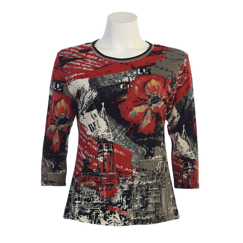 "On Special ♥ J & J ""Cityscape"" Print Top in Black/Multi - 14-1122-BK - Sizes L, 2X & 3X Only"