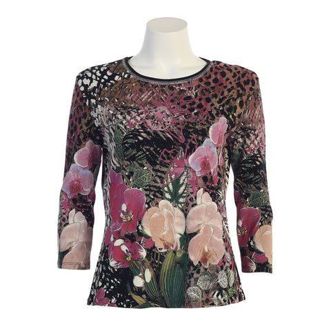 "Jess & Jane ""Orchids"" Floral Print Top in Black/Multi - 14-1128"