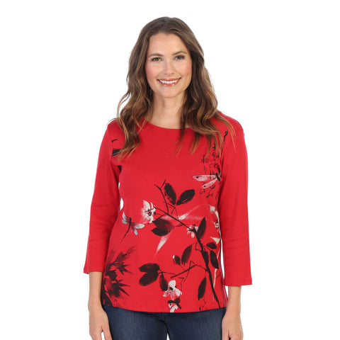 "Jess & Jane ""Playtime"" Dragonflies Print Cotton Top in Red - 14-1160 - Size 3X Only"
