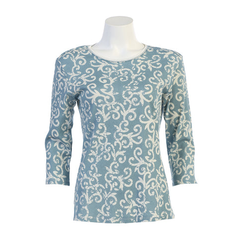"Jess & Jane ""Lizbeth"" Victorian Swirl Print Cotton Top - 14-1202-TL"