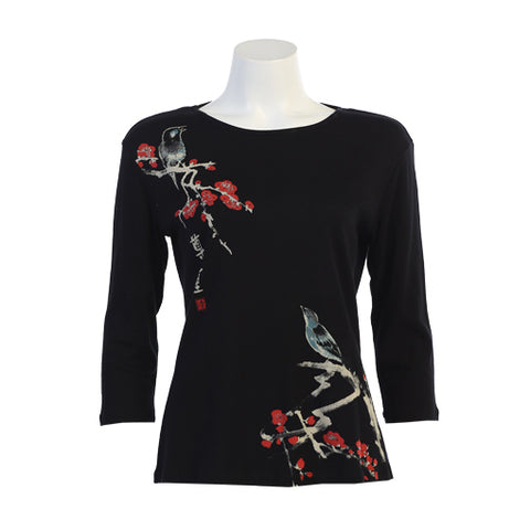 "Jess & Jane ""Melody"" Birds on Floral Branches Print Top in Black/Multi 14-1208"