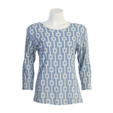 "Jess & Jane ""Squares"" Geometric Print Top in Light Denim Blue 14-1213-DN"