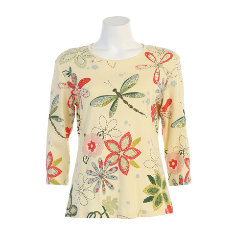 "Jess & Jane ""Good Times"" Floral Print Cotton Baby Rib Top in Banana Multi 14-1228BN"
