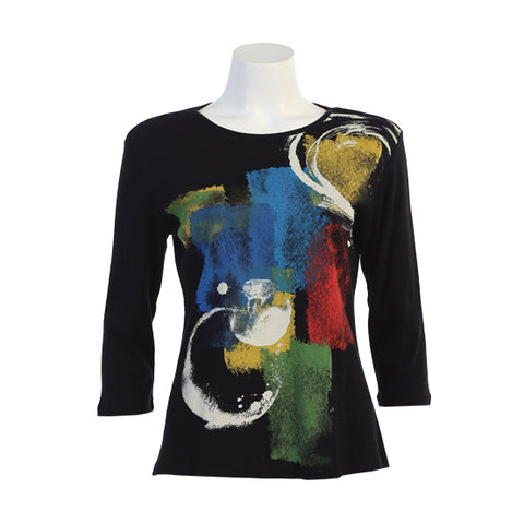 "Jess & Jane ""Tranquility"" Abstract Print Cotton Top in Multicolor 14-1250-BK"
