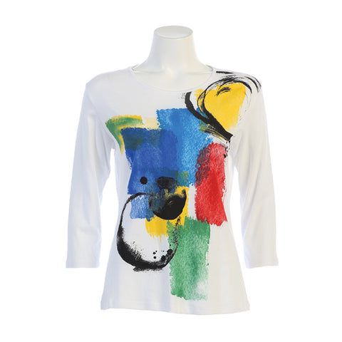 "Jess & Jane ""Tranquility"" Abstract Print Top in Multicolor on White - 14-1250-WT"