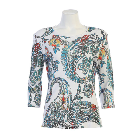 "Jess & Jane ""Antique"" V-Neck Paisley & Floral Print Top in White/Multi - 14-1266-WT"