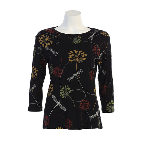"Jess & Jane ""Swing By"" Dragonfly & Floral Cotton Top in Black Multi - 14-1274-BK"