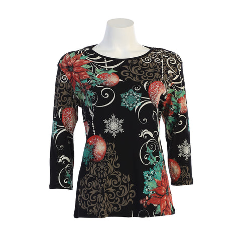 "Jess & Jane ""Miracle Night"" Holiday Top in Black/Multi -14-1278-BK"