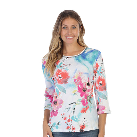 "Jess & Jane ""Joyous"" Floral Print Top in Multi - 14-1332WT - Size 1X & 3X Only"