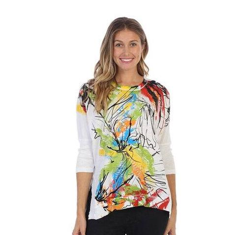 "Jess & Jane ""Lily"" Abstract Print Mineral Washed Cotton Top in Multi - M15-1203"