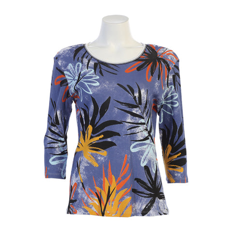 "Jess & Jane ""Dusk"" Abstract Floral Top in Multi - 14-1336WT - Sizes S & 3X Only"