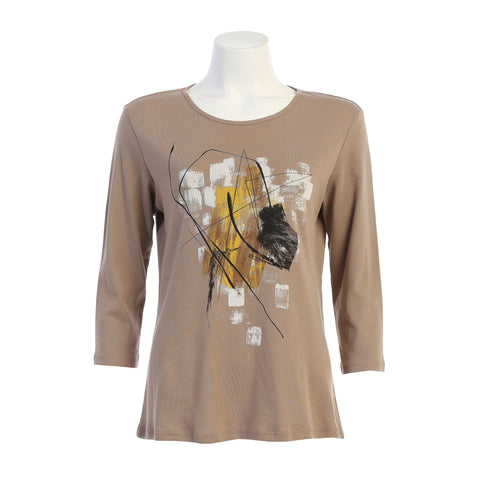"Jess & Jane ""Stella"" Abstract Print Top in Taupe/Multi - 14-1377"