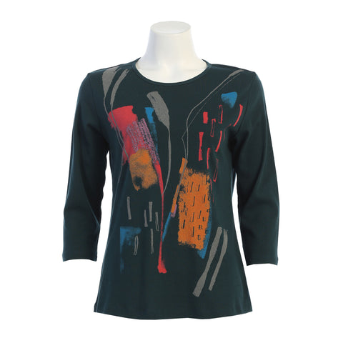 "Jess & Jane ""Color Sketch"" Abstract Print Cotton Top - 14-1386 - M, L & XL Only"