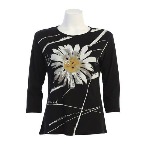 "Jess & Jane ""Chit Chat"" Daisy Print Top in Black/White/Yellow - 14-1387BK"