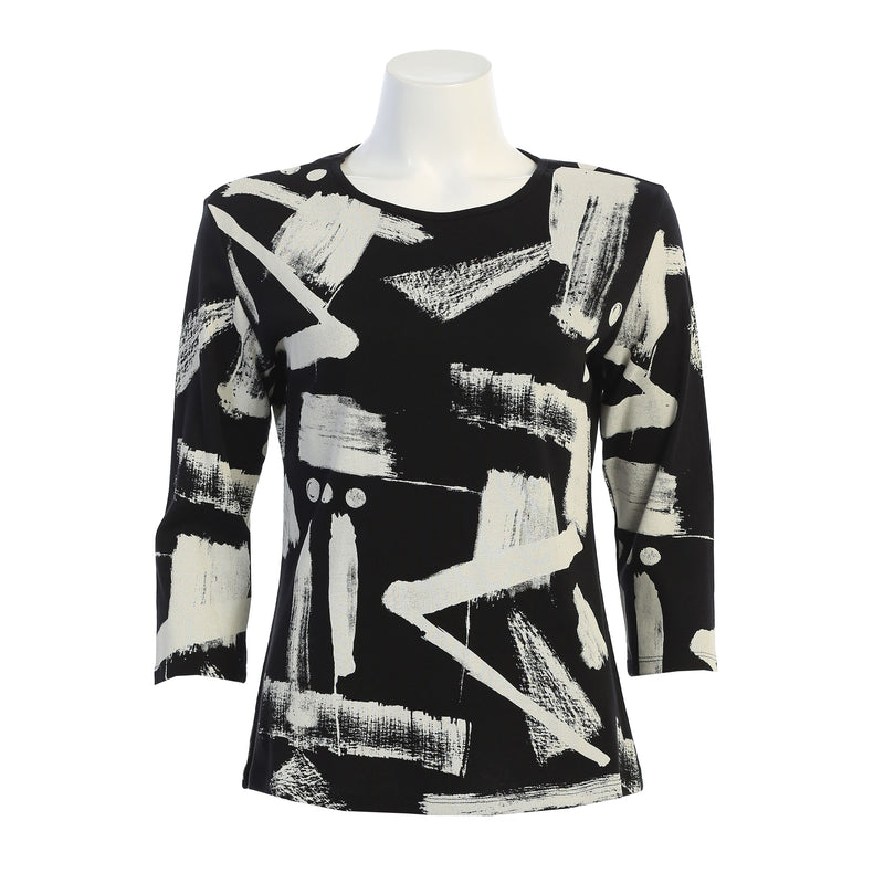 "Jess & Jane ""Journal"" Abstract Print Top in Black & White - 14-1391BK - Size S Only"