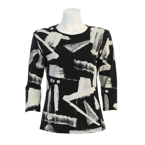 "Jess & Jane ""Journal"" Abstract Print Top in Black & White - 14-1391BK - Sizes S & 2X Only"