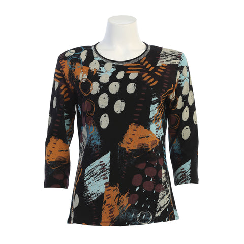 "Jess & Jane ""Dottie"" Print Top in Multi - 14-1410-BK"
