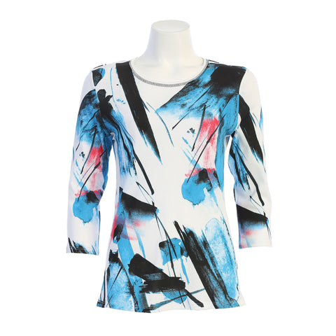 "Jess & Jane ""Silhouette"" Abstract Print Cotton Top - 14-1412-WT"