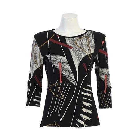 "Jess & Jane ""Strings"" Abstract Print Cotton Top - 14-1420 - Size 3X Only"