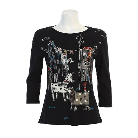 "Jess & Jane ""City Pups"" Print Cotton Top in Multi/Black - 14-1436-BK"