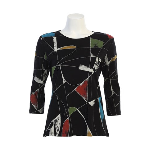 "Jess & Jane ""Curious"" Abstract Print Cotton Top - 14-1419 - Size 2X Only"