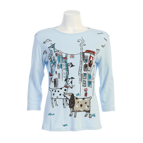 "Jess & Jane ""City Pups"" Print Top in Blue - 14-1436BL"