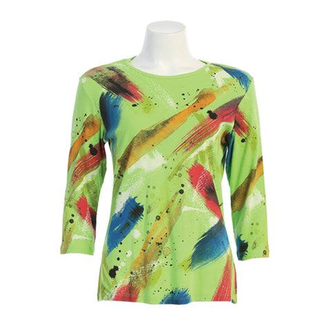 "Jess & Jane ""Bora Bora"" Abtract Print Top in Lime - 14-1459-LM - Size XL Only"