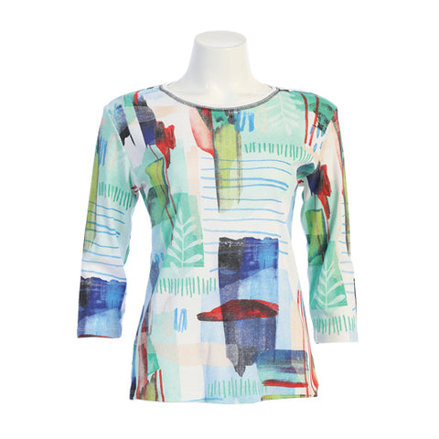 "Jess & Jane ""Monaco"" Abstract Print Top in Multi/White - 14-1475WT"