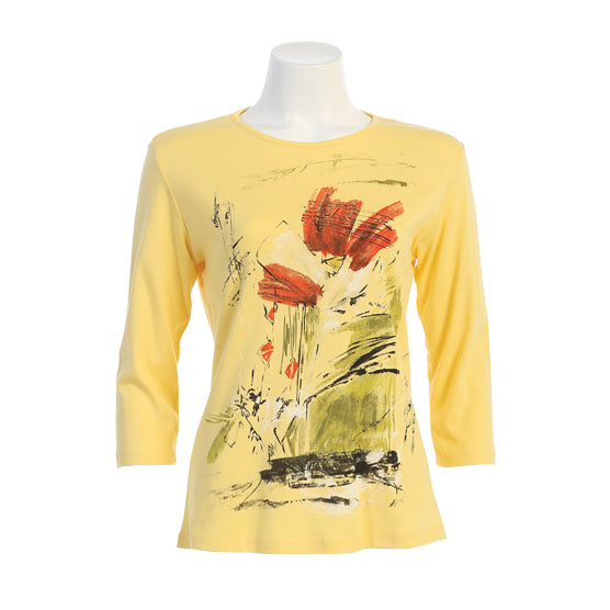 "Jess & Jane ""Celine"" Abstract Print Top in Lemon - 14-1489LEM"