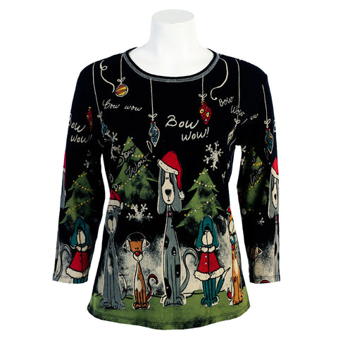 "Jess & Jane ""Bow Wow Christmas"" Print in Multi/Black - 14-376-BLK"