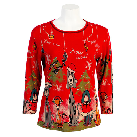 "Jess & Jane ""Bow Wow Christmas"" in Red - 14376 - Sizes S, M & 1X Only"