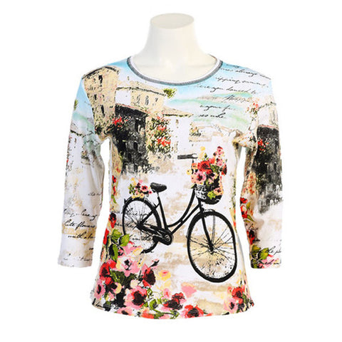 "Jess & Jane ""Floral Bicycle"" Cotton Top in White  14643WT"