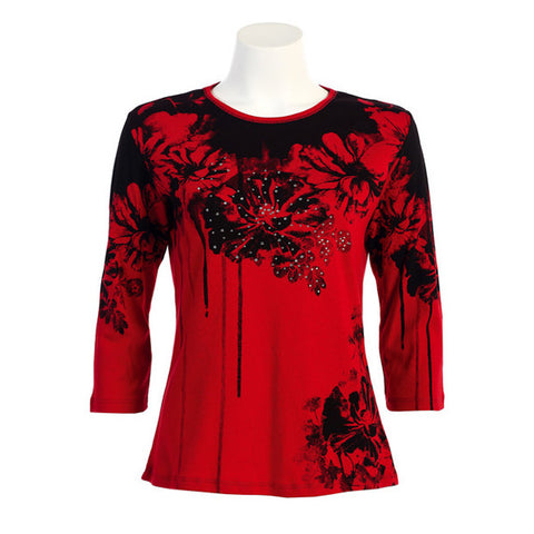 "Jess & Jane ""Bouquet"" Floral Print Top in Red/Black -14-739-RD"