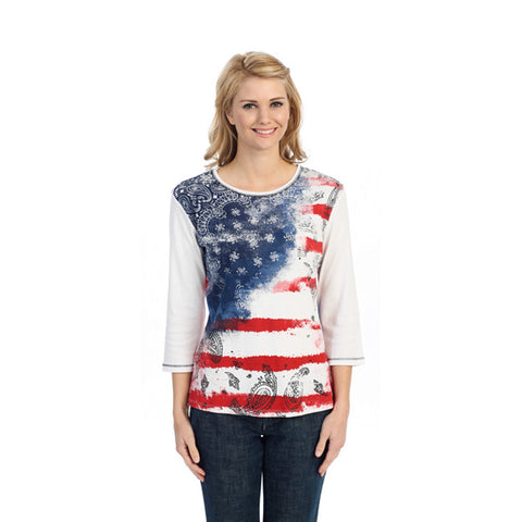 "Jess & Jane Cotton Tee Shirt - ""Vintage Flag"" in White with Rhinestones - 14755"