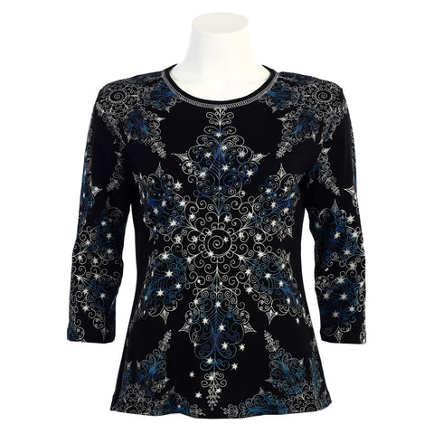 "Jess & Jane ""Snowflakes"" Top in Black/Multi - 14-801"