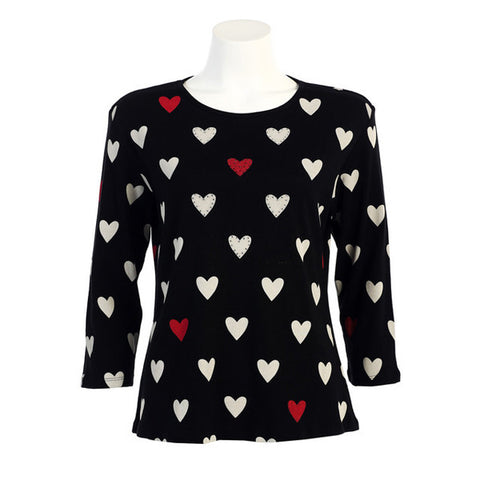 "Jess & Jane ""Hearts"" Babyrib Cotton Top in Black - 14859"