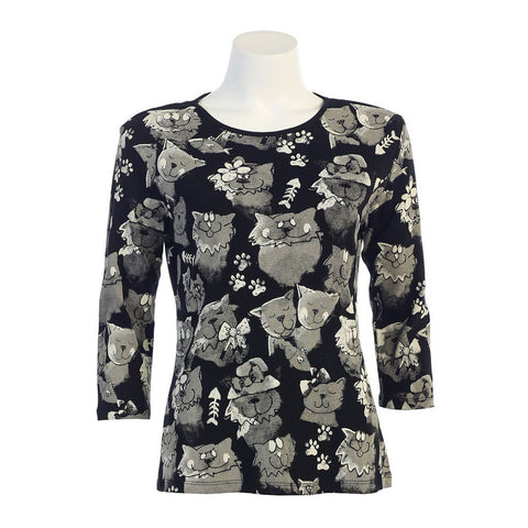 "Jess & Jane Cotton Tee Shirt ""Cat Medley"" in Black  14-886BK"
