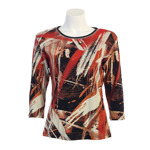 "Jess & Jane ""Fall Brushes"" Top in Black/Multi  14934BK - Size 1X & 3X Only"