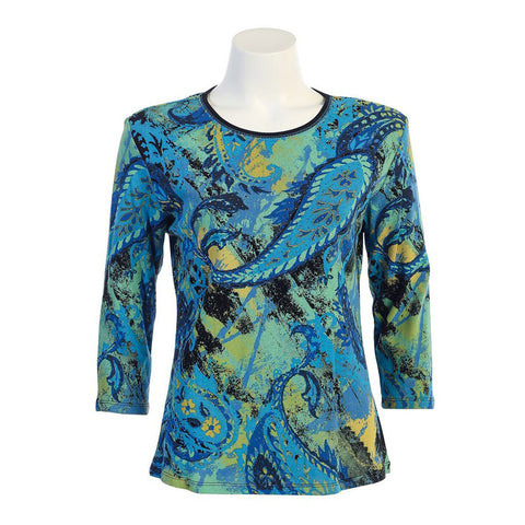 "Jess & Jane ""Paisley Art"" Top in Blue/Multi 14-938BL"