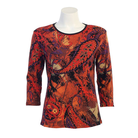 "Jess & Jane ""Paisley Art"" Top in Red/Multi  14-938RD"